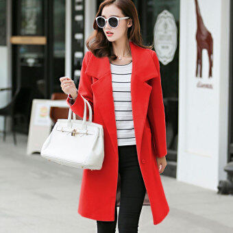 Vanker Stylish Lady Women Casual Long Sleeve slim fit Wool coatwomen's Korean Style Lapel Casual Jacket Outwear Fashion WoolBlazer-Red