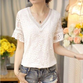 Versatile Slim fit slimming V-neck Top lace shirt (Yellow)