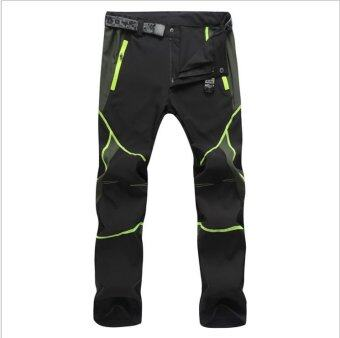 Victory Men and women sports pants Outdoor sport Riding ClimbingStretch pants Quick drying pants Unisex(Green line)