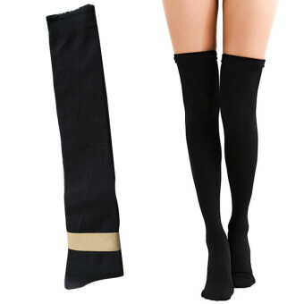 Vinmax Winter Fashion Over Knee Socks Sexy Warm Thigh High LongKnit Cotton Stockings For Girls Ladies Women ( Black )
