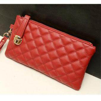 Vintage Women Clutch PU Leather Handbag Red