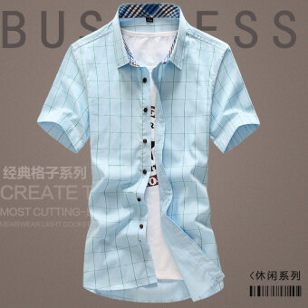 White plaid business models youth shirt short sleeved men's shirt (Sky blue color) (Sky blue color)