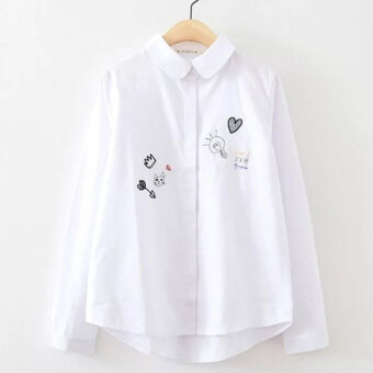 White shirt women long-sleeved Print wild Korean fan College Windcasual cotton bottoming small fresh Top shirt (White)