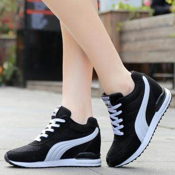 Women Fashion Sneakers Ladies Wedges Shoes Inner Heightening ShoesPlatform Casual Sport Shoes ( Black )