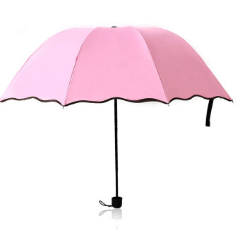 Women Girls Portable Triple Folding Water Activated Hidden FloralOutdoor Anti UV Sun Rain Umbrella Pink