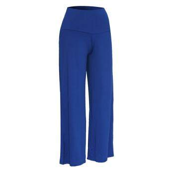 Women Lady Trousers Palazzo Stretch Wide Leg High Waist Long LooseCasual Pants Blue
