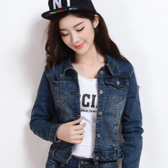 Women Long Sleeve Slim Denim Casual Jean Coat Short Jacket LadiesCrop Outwear