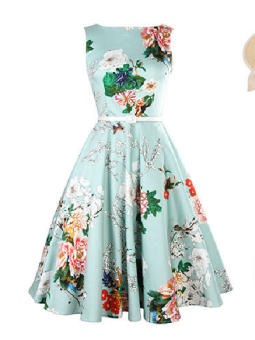 Women Retro Floral Print Party Dress