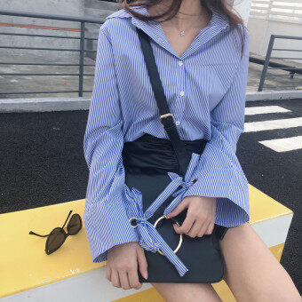 Women's Korean-style Casual Blue Vertical Striped Long Sleeve Shirt