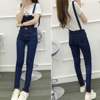 Women's Korean-style Preppy Strapped Small Feet Denim Cloth Romper