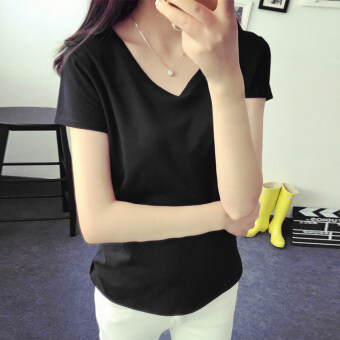 Women's Korean-style Slim Fit V-Neck Short Sleeve Solid Color T-Shirt (8002 black)