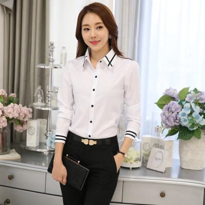 Women's Long Sleeves White Blouse with Black Stripes Detail