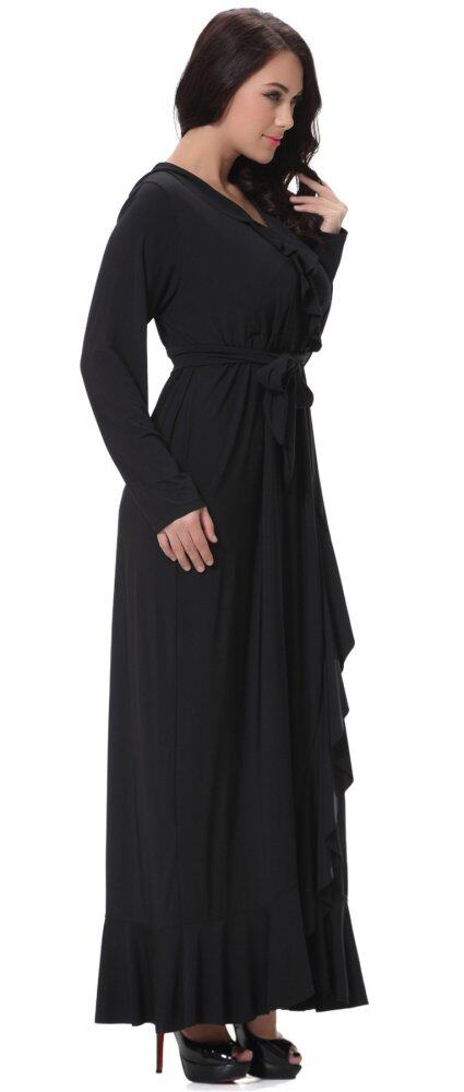 Yacun Womens Long Sleeve Black Maxi Dress Evening Gown Plus Size ...