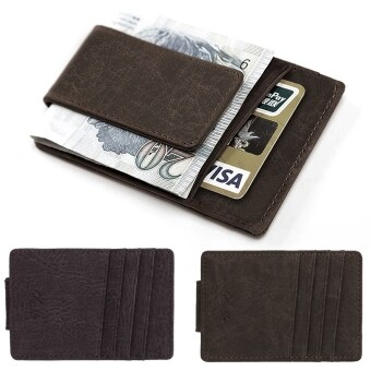 Yidabo Men Synthetic Leather Wallet Credit Card ID Holder withMagnet Money Clip (Dark Gray)