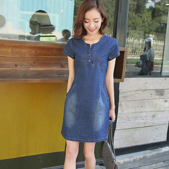 Yiyan Women's Korean-style Denim Cloth A Line Dress (Dark color)