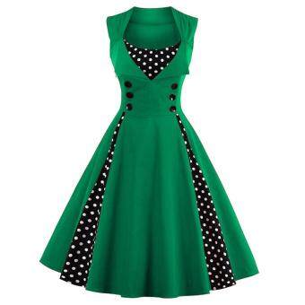 Zaful Women Vintage Sleeveless A-Line Dress Button Floral PrintElegant (Green)