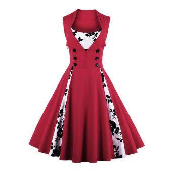 Zaful Women Vintage Sleeveless A-Line Dress Button Floral PrintElegant (Red)