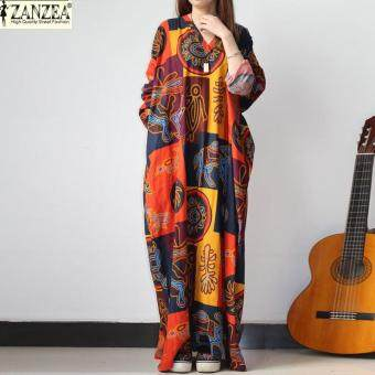 ZANZEA 2 Colors Vintage Women V Neck Floral Printed Batwing Sleeve Dress Retro Ladies Maxi Long Dress Kaftan Loose Casual Vestido (Printed)