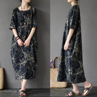 ZANZEA 2017 Womens Boho Floral Printed Short Sleeve Cotton Linen Maxi Long Dress Loose Baggy Casual Kaftan Vestido Plus Size (Navy)