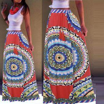 ZANZEA Boho Womens Vintage Summer Floral Chiffon Beach Dress Sundress Long Skirt