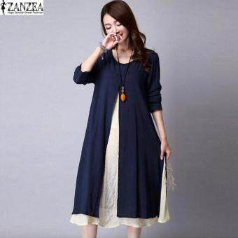 ZANZEA Plus Size M-5XL Women Round Neck Long Sleeve Dress Retro Ladies Patchwork Splicing Tunic Loose Long Dress Kaftan Vestido (Navy)