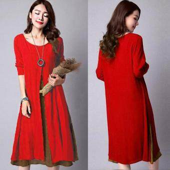 ZANZEA Plus Size M-5XL Women Round Neck Long Sleeve Dress Retro Ladies Patchwork Splicing Tunic Loose Long Dress Kaftan Vestido (Red)