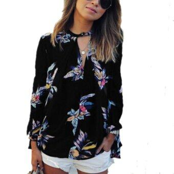 ZANZEA Value for money Retro Floral Print Shirt Blouse Loose Long Sleeve Women See Through Tops Casual Floral