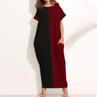ZANZEA Women O-Neck Short Sleeve Casual Loose Long Maxi Dress Summer Batwing Party Evening Kaftan Vestido Plus Size S-5XL (Black Red)