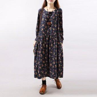 ZANZEA Women Vintage Long Sleeve Round Neck Loose Tunic Floral Flower Maxi Dress Navy