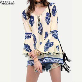 ZANZEA Womens Lace-Up V-Neck Shirt Oversized Boho Floral Print Flare Sleeve Casual Loose Blouse Tops (Blue)