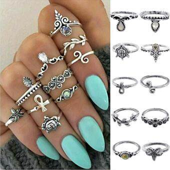 10 Pcs/Set Bohemian Rhinestone Knuckle Ring Women Punk Vintage Mid Ring Jewelry(silver)