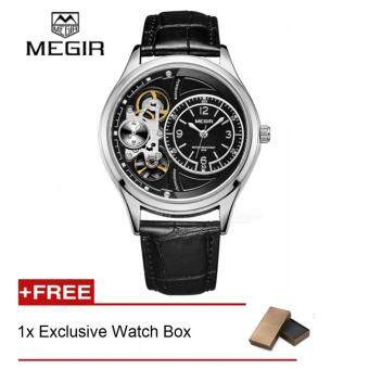 (100% Authentic) MEGIR *Automatic* hot brand watch man fashion leather strap wristwatches