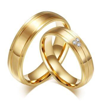 18K Gold Plated Couple Rings CZ Diamond Stainless Steel EngagementJewerly for Woman Man