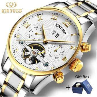 1PCS Luxury Brand KINYUED Skeleton Watch Men Mechanical Automatic Calendar Watches Stainless Steel Strap Tourbillon Gold Wristwatches For Man / Women