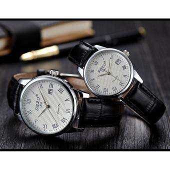 2 pcs Jam Tangan Quartz Pria Wanita Strap Kulit PU Men Women Leather Band Couple Wrist Watch (Black/White)