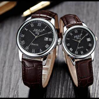2 pcs Jam Tangan Quartz Pria Wanita Strap Kulit PU Men Women Leather Band Couple Wrist Watch (Dark Coffee/Black)