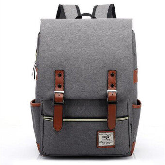 2016 New Fashion Canvas Men Daily Backpacks for Laptop LargeCapacity Computer Bag Casual Student School Bagpacks TravelRucksacks Grey