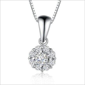 925 Sterling Silver Necklace Full Diamond Snowflake PendantNecklace for Female Jewelry
