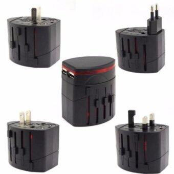 All in One Universal International Travel Adapter 2 USB Port WorldAC Power Charger Adaptor with AU US UK EU Plug