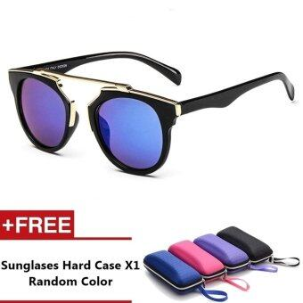Anzio Brand Unisex Retro Aluminum Sunglasses Polarized Lens VintageEyewear Accessories Sun Glasses For Men/Women (Black+Blue)