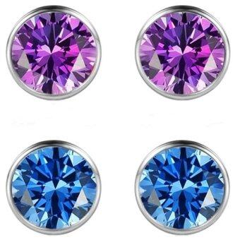 Arche Jewellery Sterling Sapphire Cubic Zirconia Round Brilliant Stud Earring Set (Silver)