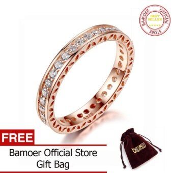 BAMOER Classic Wedding Finger Ring Rose Gold Plated Rings withZircon 3mm Width Fashion Ring Jewelry PA7215