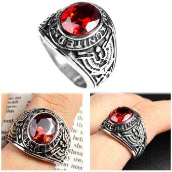 Big Natural Red Stone Ring, Vintage Men Ruby Rings Wedding Jewelry