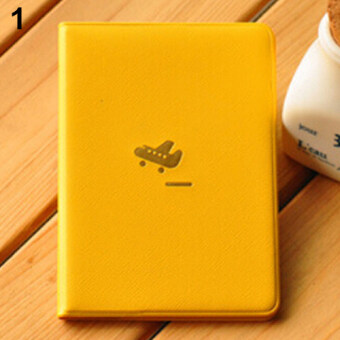 Bluelans Airplane Pattern Passport ID Card PVC Cover Protector(Yellow)