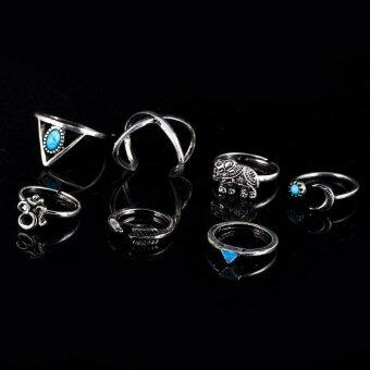 BUYINCOINS 7Pcs/Set Bohemian Sliver Plated Knuckle Ring TurquoiseArrow Moon Open Midi Ring Silver
