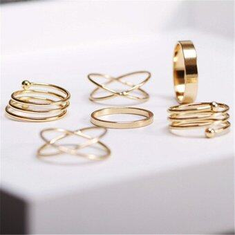 Buytra Fashion Unique Ring Set Punk Alloy Knuckle Rings for Womens 6 PCS Finger Rings Gold
