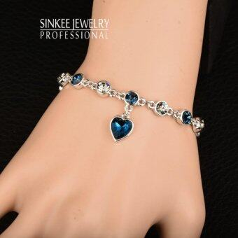 Charm Blue Cubic Zirconia Heart Pendant Chain Bracelets Bangle ForWomen Lady Valentine's Day Gift 18k White Gold Plated Sl241