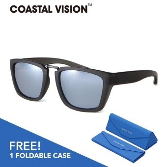 COASTAL VISION Polarized Unisex Matte Black sunglasses Rectangle anti UVA/B lenses CVS5825