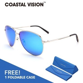 COASTAL VISION Polarized Unisex Silver sunglasses Pilot anti UVA/B Mirror lenses CVS5112