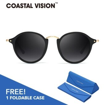 COASTAL VISION Polarized Women Black sunglasses Round anti UVA/B lenses CVS5018